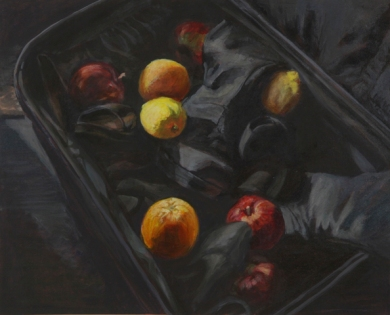 BAGGAGE AND SHOES, 2009. Acrylic. 15 x 19 in.