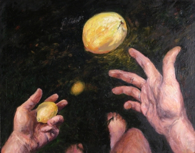 JUGGLING LEMONS, 1999. Oil. 9-1/2 x 12-1/2 in.