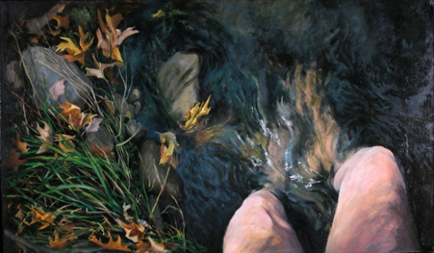 KNEE DEEP, 2002. Oil. 20 x 33 in.