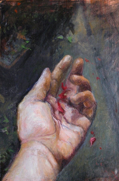 LETTING GO, 1996. Oil. 8-1/2 x 5-1/2 in.