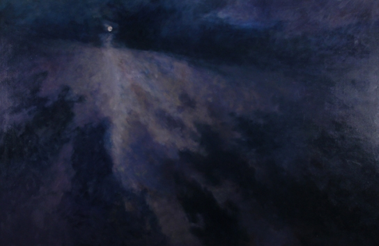 MOON OVER PASSING STORM, 2002. Oil, 54 x 84 in.