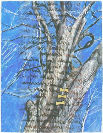 WINTER'S CHILL, 2012. Watercolor, vinyl overlay, crayon, collage. 30 x 22 in.