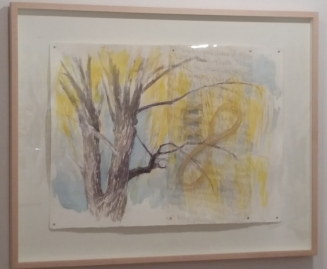 WEEPING WILLOW, 2014. Watercolor, vinyl overlay, crayon, mixed. 22 x 30 in. (sheet)