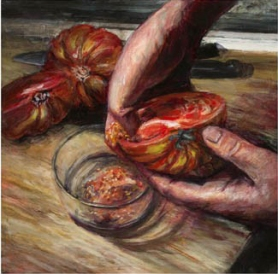 STONE RIDGE TOMATO, 2012. Oil. 10 x 10 in. Commissioned by the Hudson Valley Seed Library (http://www.seedlibrary.org/stone-ridge-tomato.html)